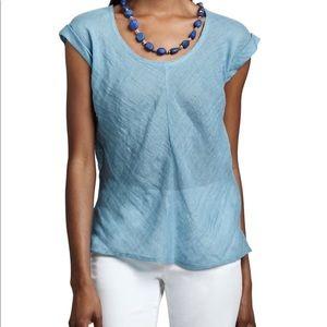 Eileen Fisher Blue Linen Gauze Scoop Neck Long Top
